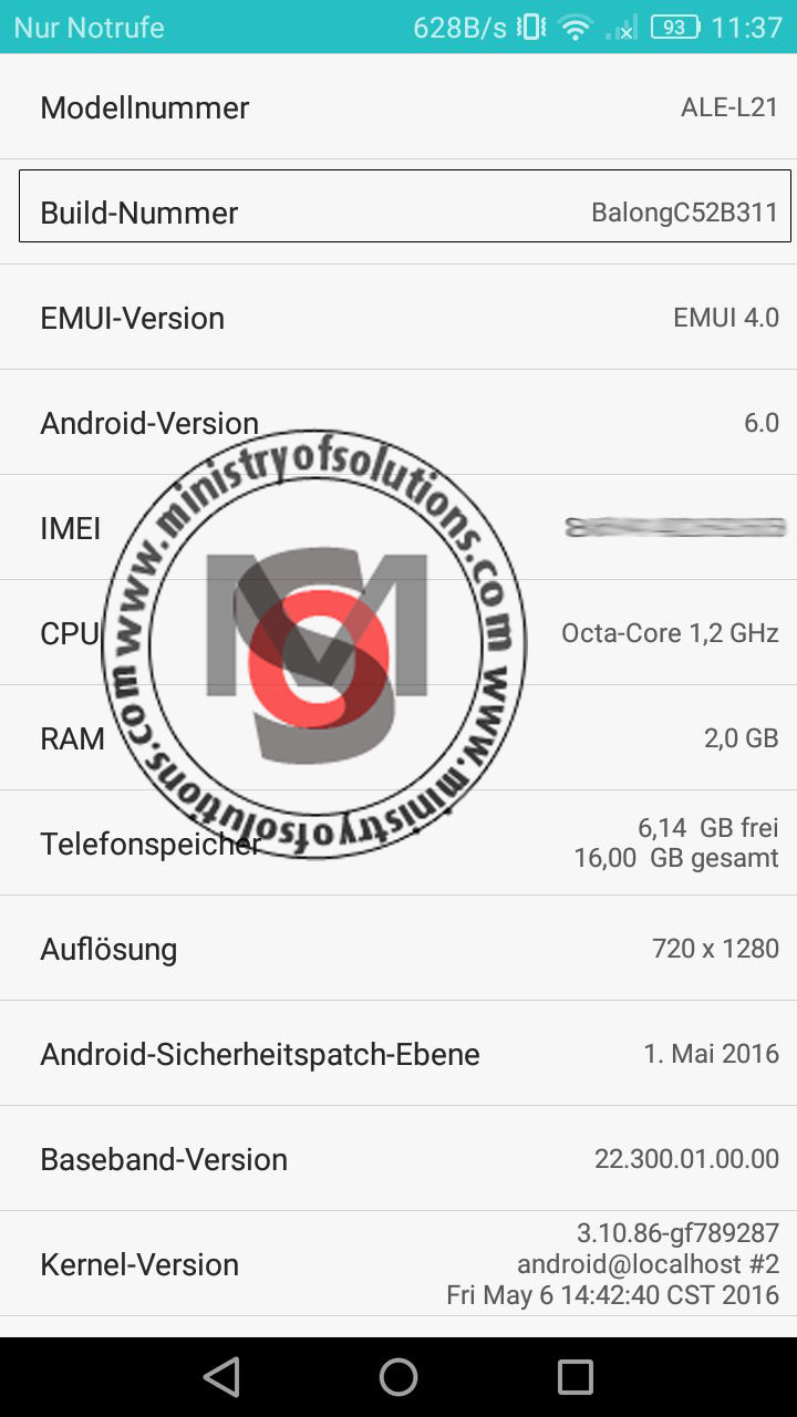 Huawei P8 Lite ALE-L21 BalongC52B311 Solution and upgrade to
